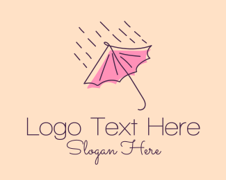 Flood - Rain Weather Umbrella  logo design