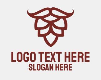 Men - Brown Acorn Mustache logo design