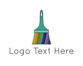 Gay - Rainbow Brush logo design
