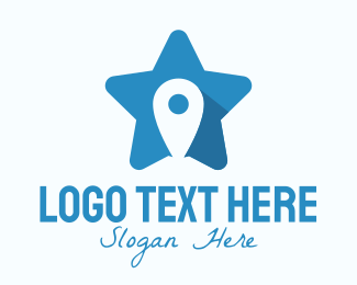 Pin - Location Pin Star logo design