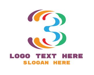 Tv Channel - Colorful Number 3 logo design