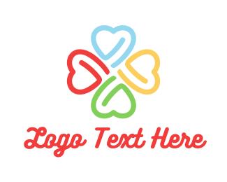 Four Leaf Clover - Heart Four Leaf Clover logo design