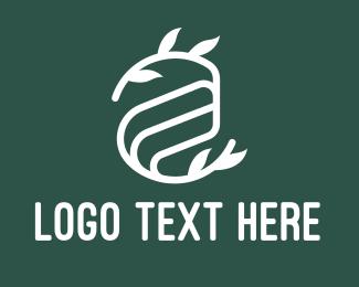 Twig - Leafy White Letter A logo design