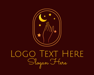 Tarot Card - Moon Star Hand Astrology logo design