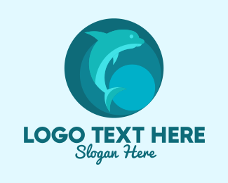 Coral Reef - Blue Green Dolphin logo design