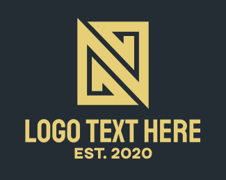 Black And Gold - Gold Business Letter N logo design