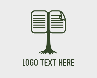 Knowledge - Green Tree Book logo design