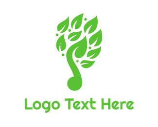 Green Instrument - Green Leaf Music Logo logo design