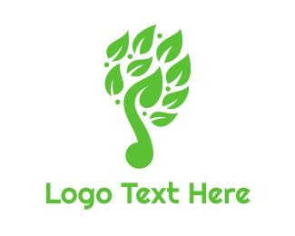 Healthy Living - Green Leaf Music Logo logo design