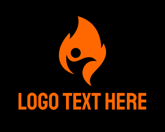 Foundations - Fire Flame Person logo design