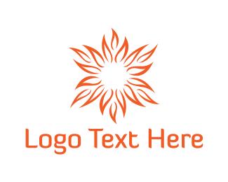 Tropical - Elegant Sun Flower  logo design