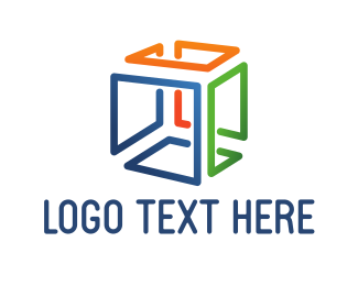 Web Design - Colorful Cube Lines logo design