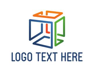 Dice - Colorful Cube Lines logo design