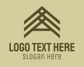 Framing - Wooden Roof Letter A logo design