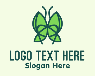 Metamorphosis - Green Leaf Butterfly logo design