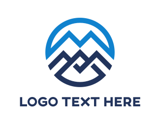 Boutique - Blue Mountain Circle Outline logo design