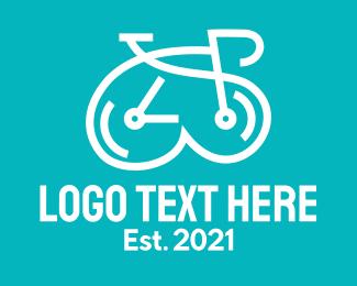Pedalling - White Clock Bike  logo design