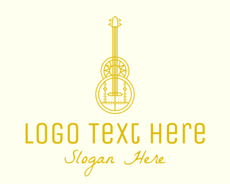 String Instrument - Golden Retro Guitar logo design
