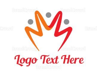 Doodle - Orange Yellow Crown Stroke logo design