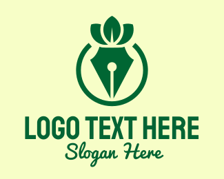 Crown - Green Herbal Pen logo design