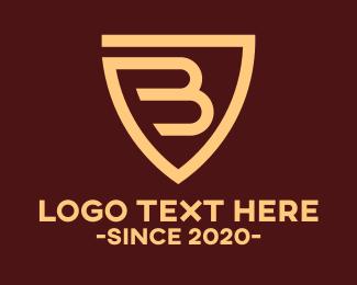 Safety - Brown Shield Letter B logo design