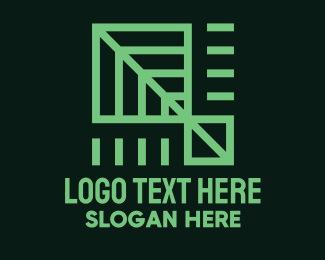 App - Green Geometric Leaf logo design