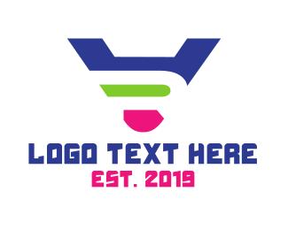 5d - Colorful VR Monogram logo design