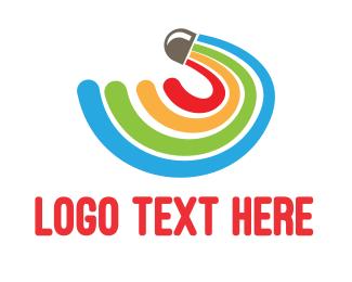 Shuttlecock - Rainbow Shuttlecock  logo design