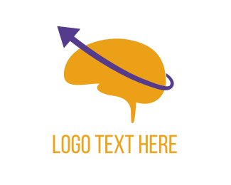 Intelligent - Brain & Purple Arrow logo design