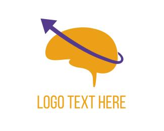 Mind - Brain & Purple Arrow logo design