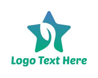 Vegan - Eco Mint Star logo design