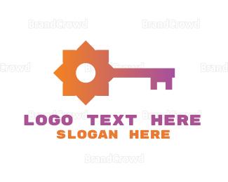 Key - Flower Key  logo design