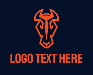 Horse Farm - Red Horse Head logo design