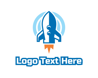 Space Ship - Blue Cartoon Rocket logo design