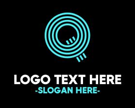 Geek - Neon Blue Letter Q logo design