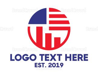 American Flag - American Statistics  logo design