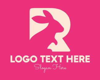 Pet Clinic - Pink Rabbit Letter R logo design