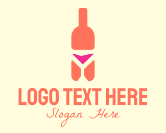 Winery - Pink Cocktail Bottle Bar logo design