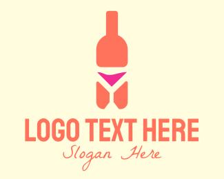 Bar - Pink Cocktail Bottle Bar logo design