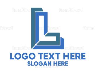 Letter L - Blue Outline L logo design