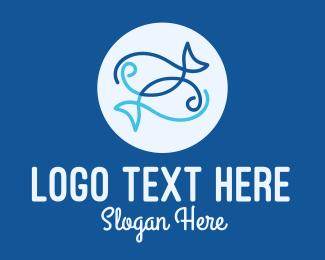 Bait - Blue Pisces Zodiac logo design