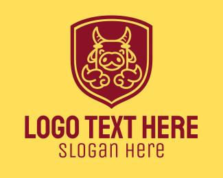 Clouds - Shield Happy Ox logo design