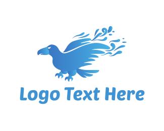 Crow - Blue Crow logo design