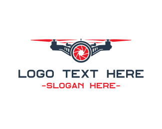 Drone Photography - Red Drone Shutter logo design