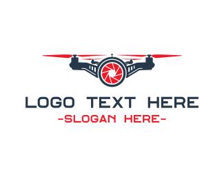 Quadcopter - Red Drone Shutter logo design
