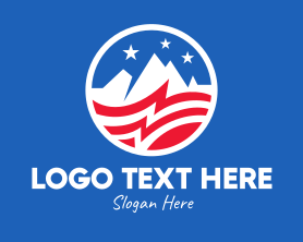 Hiking - American USA Mountain Flag logo design