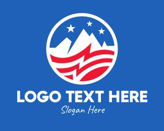 Government - American USA Mountain Flag logo design