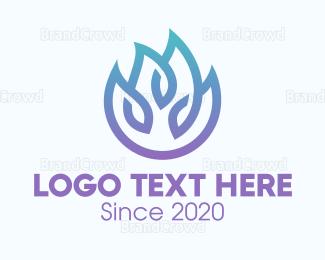 Pure - Gradient Blue Flame Outline logo design