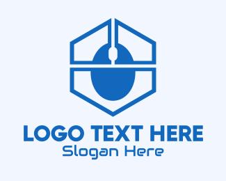 Computer Mouse - Blue Hexagon Mouse logo design
