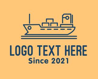 Exploring - Cargo Ship Tanker logo design